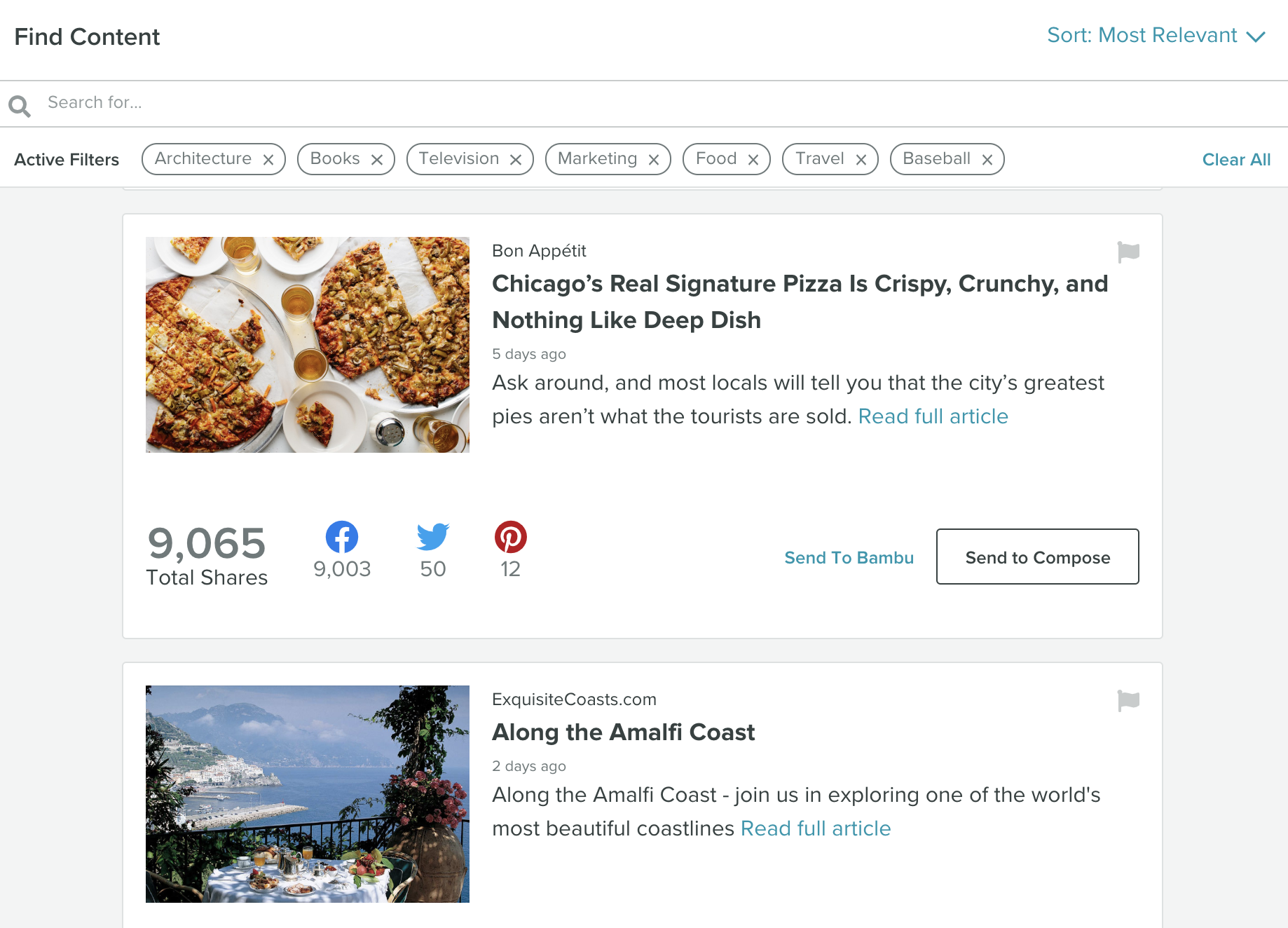 Use Sprout's Find Content feature to explore shareable articles