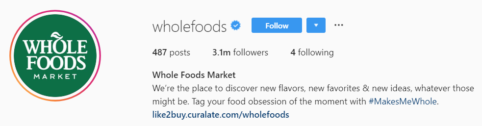Whole Foods Instagram bio
