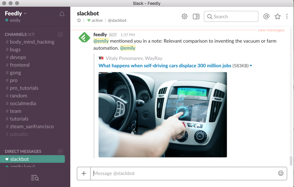 Feedly integrates with Slack to allow for tagging coworkers and colleagues in articles