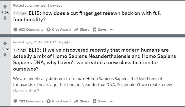Reddit posts under eli5 asking people questions about biology topics
