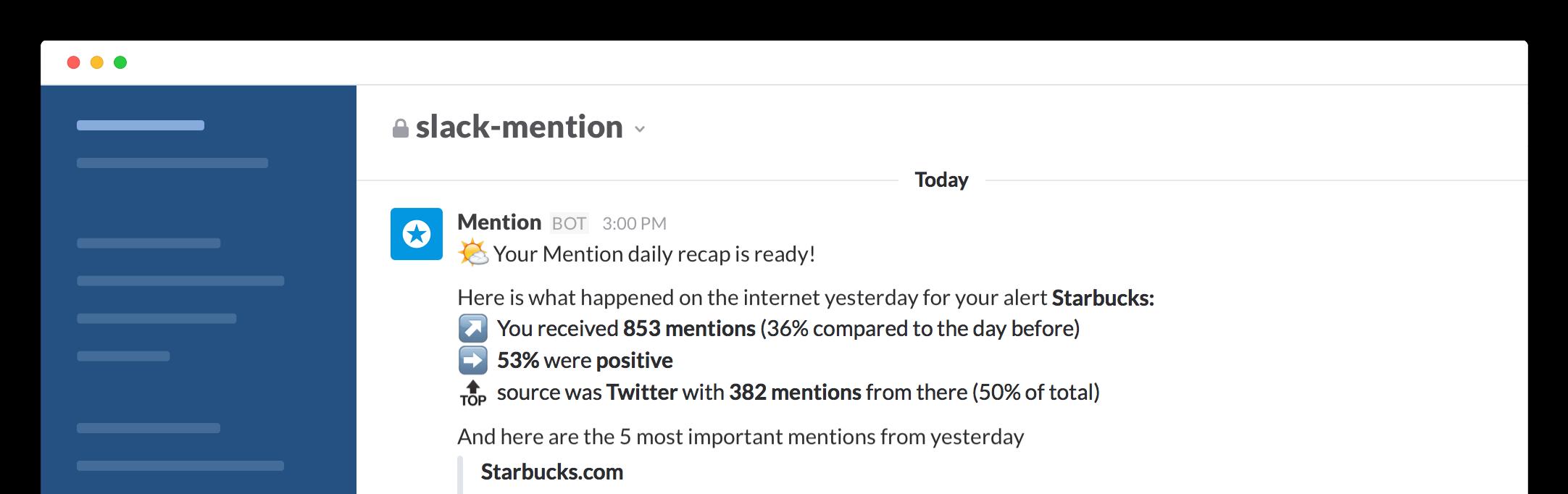 social mentions on slack