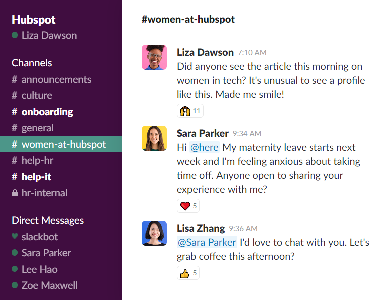 Slack can be used to discuss company content