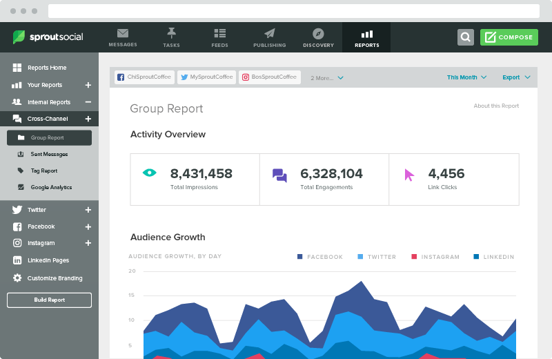 sprout group report dashboard with activity overview and audience growth