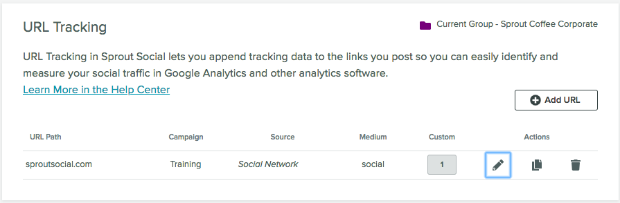 utm tracking dashboard on Sprout