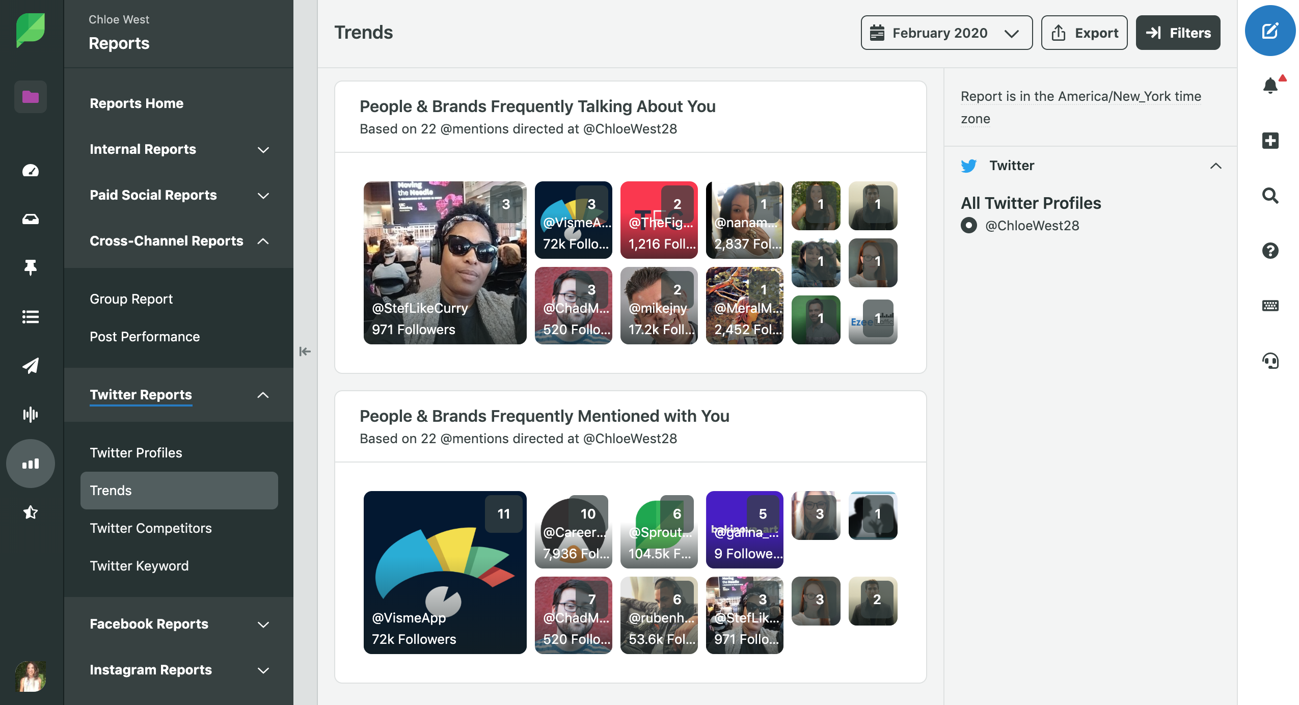 use sprout to find the brands and accounts you're frequently mentioned with