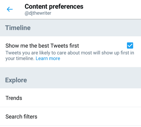 Twitter feed settings