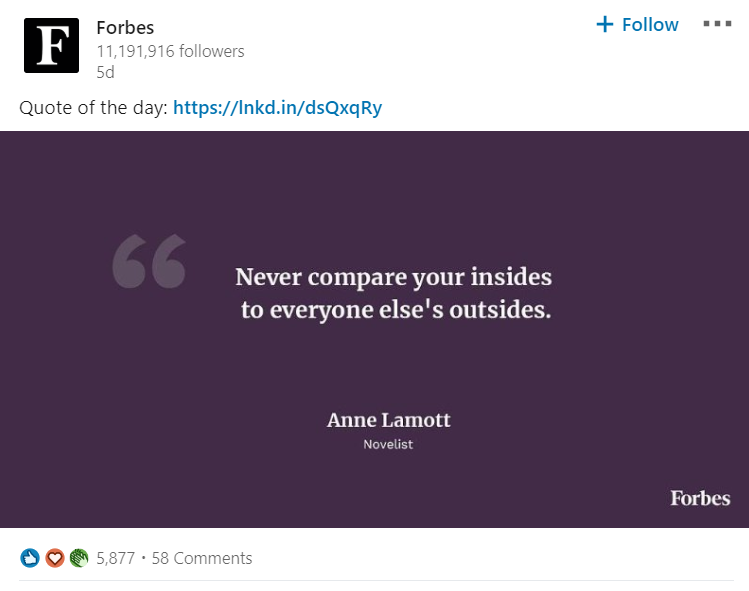Forbes publishes a daily quote which always scores high engagement
