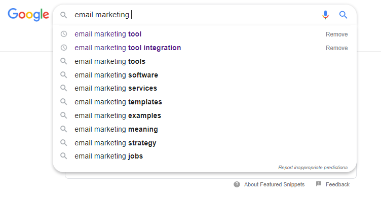 Google suggestions for email marketing