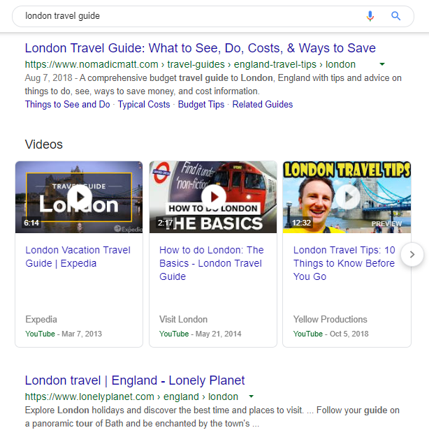 search results for london travel guide