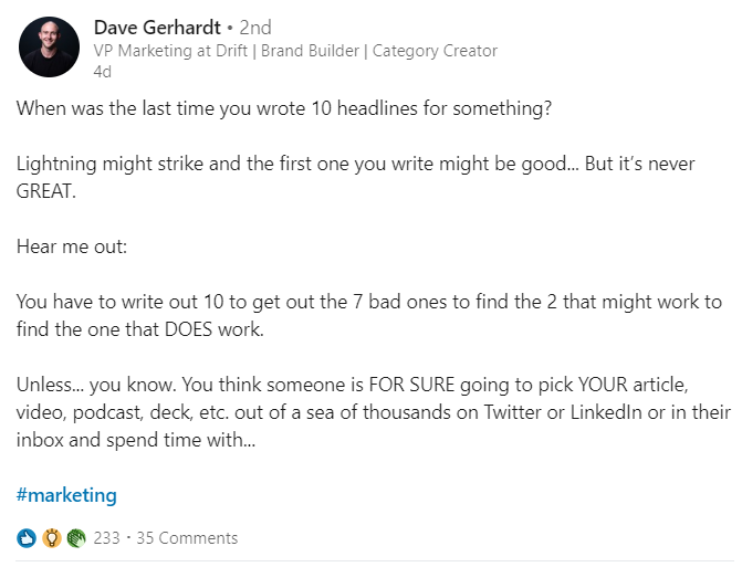 text-based LinkedIn post
