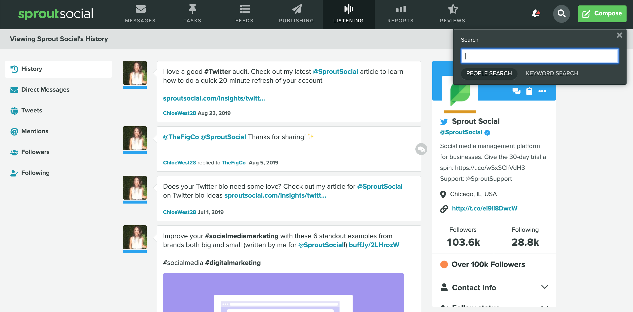 how to search your twitter history - sprout social people search