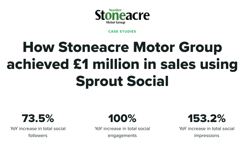 Sprout case study of Stoneacre Motor Group