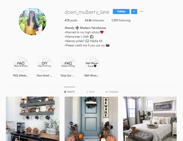 Instagram profile for user @down_mulberry_lane