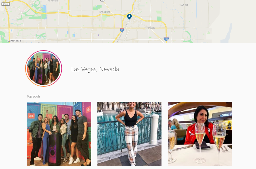 Instagram location search results Last Vegas