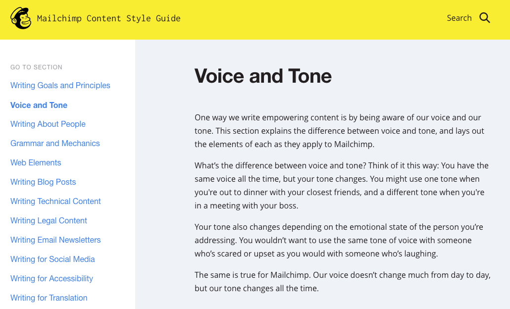 mailchimp voice guide example