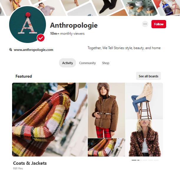 anthropologie pinterest profile