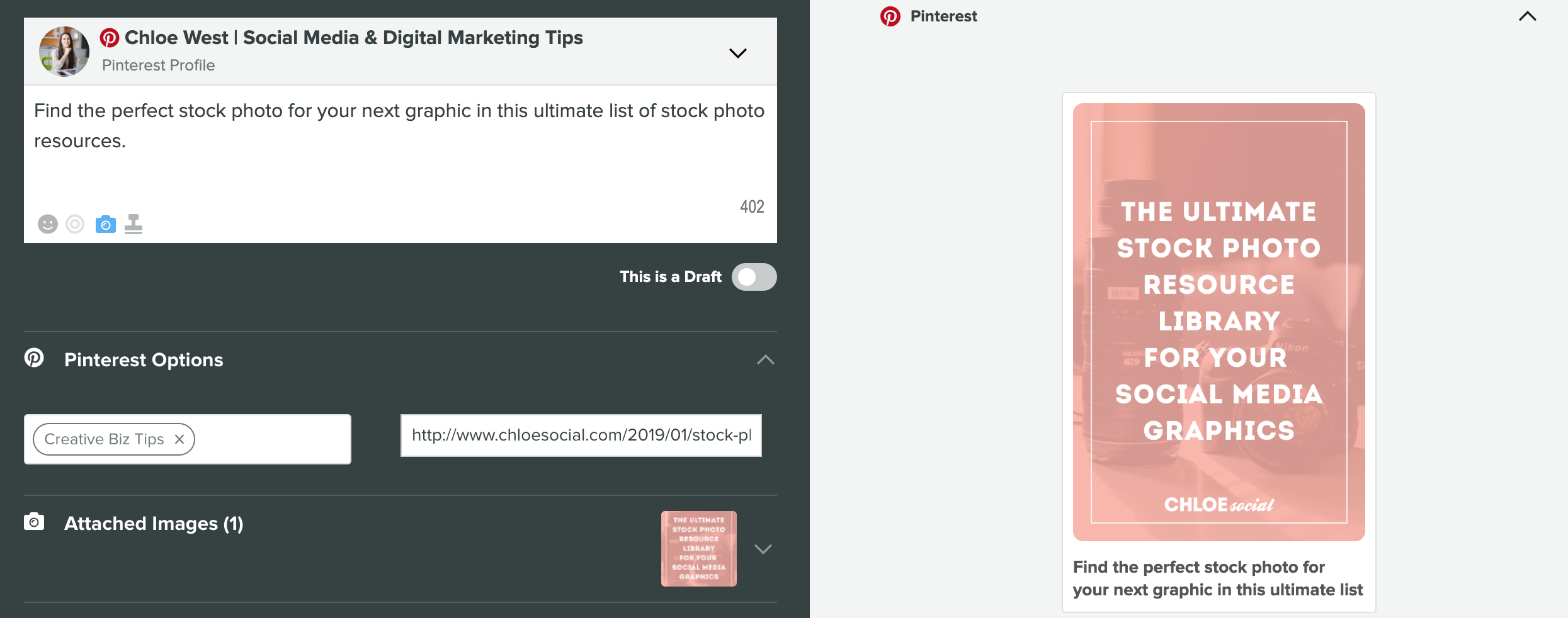 pinterest marketing - schedule pins in sprout social