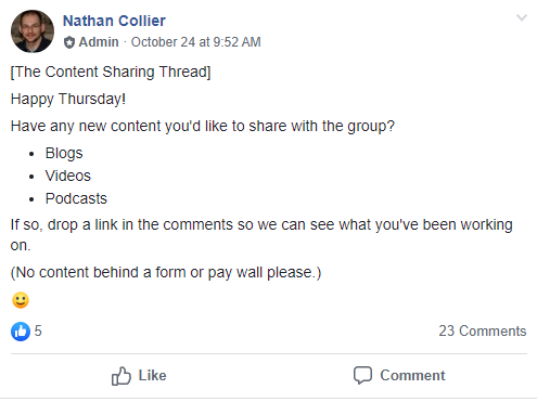 Content themes can help drive discussions in your Facebook Group