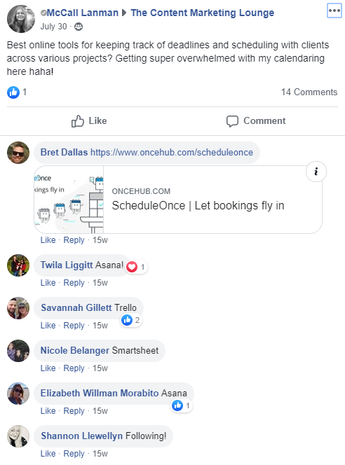 Facebook Groups are a great place to discover new content and product ideas