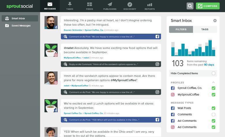 Sprout Social Smart Inbox Facebook conversations