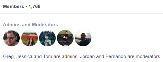 Facebook Group admins