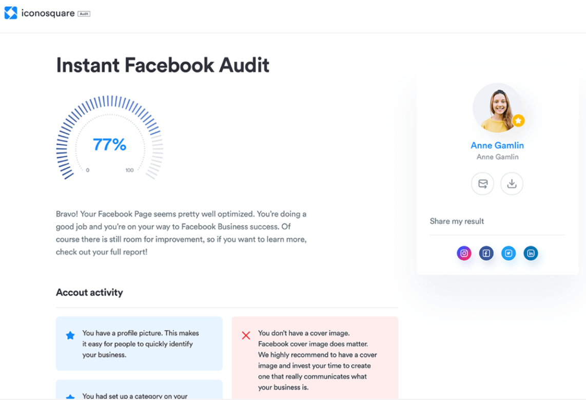 Iconosquare Facebook audit