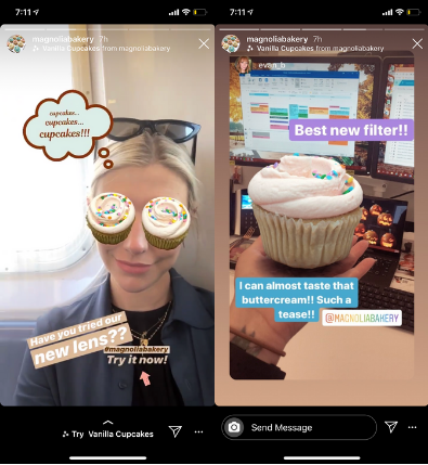magnolia bakery AR glasses on Instagram