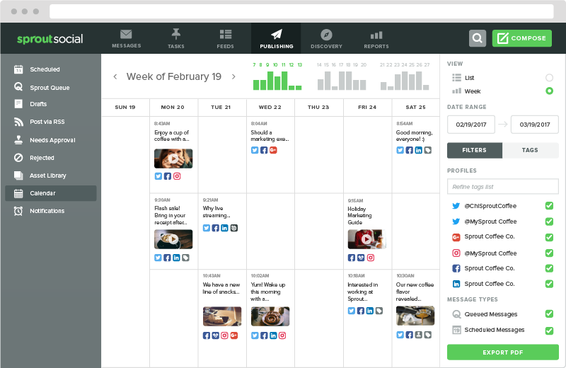 Sprout Social's calendar can help you find a balance between organic content and selling on Instagram