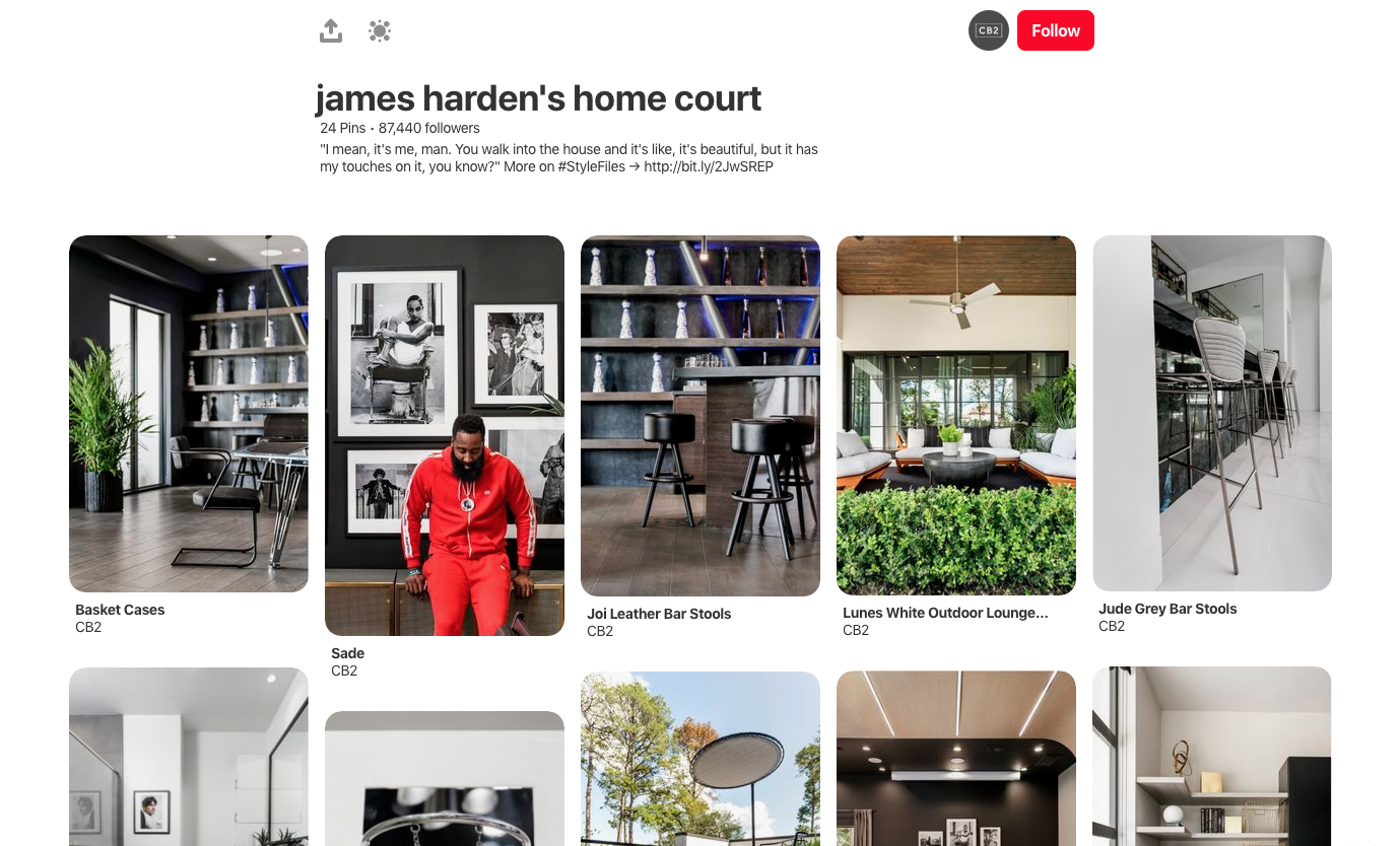 Pinterest CB2 example James Harden's Home Court