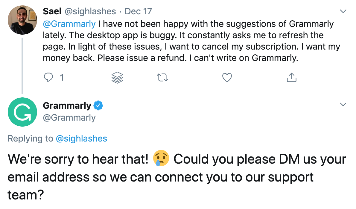 grammarly responding to a bad experience on a twitter social mention