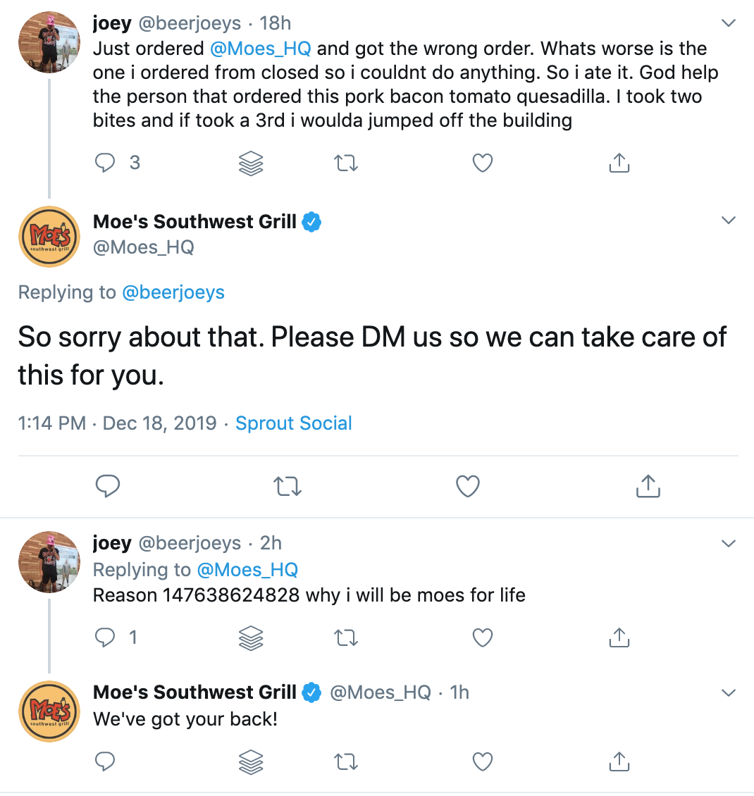 moe's responding to a bad experience on a twitter social mention