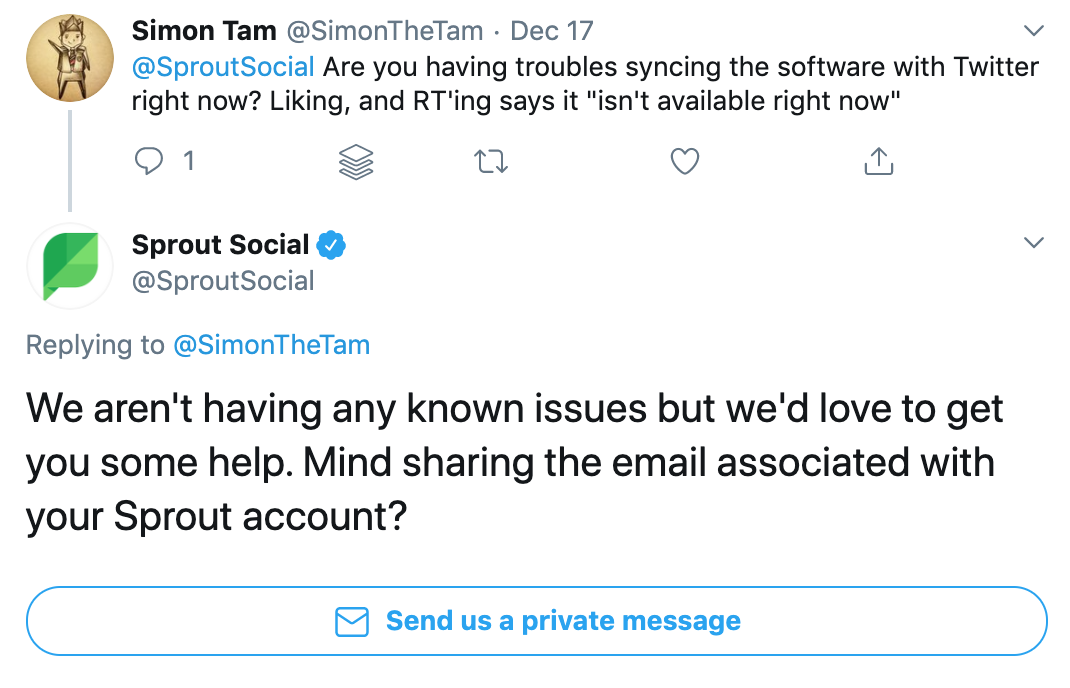 sprout social support question on twitter social mention