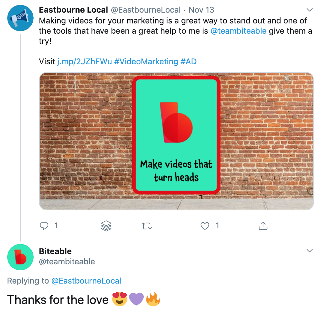 biteable responding to a press social mention on twitter