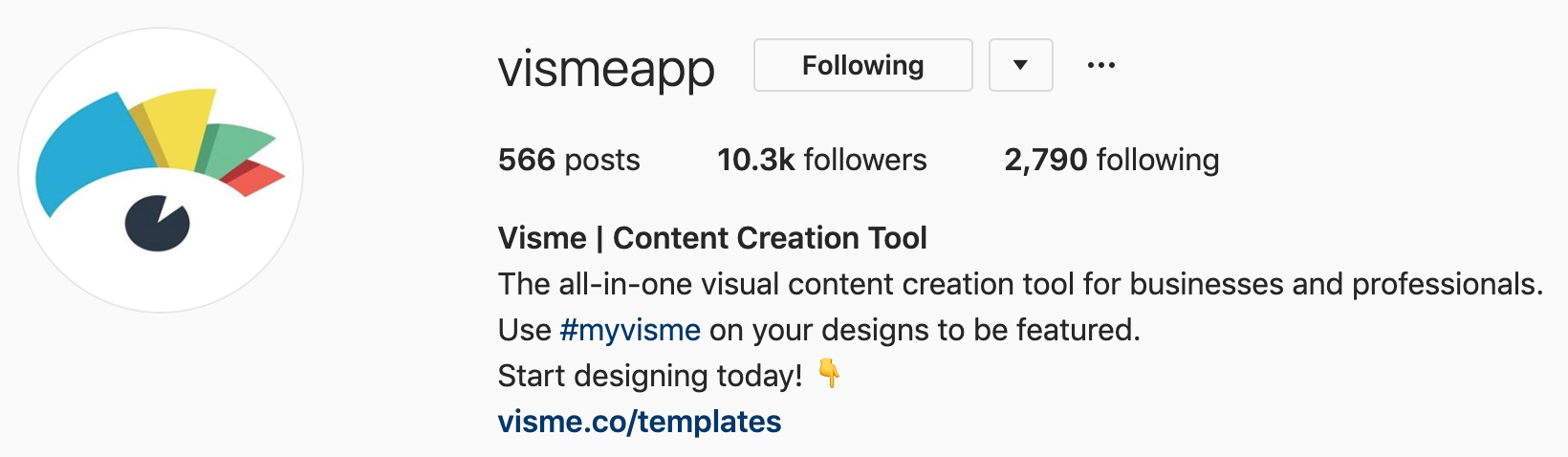 visme's brand hashtag in their instagram bio asks as a way of social mentioning