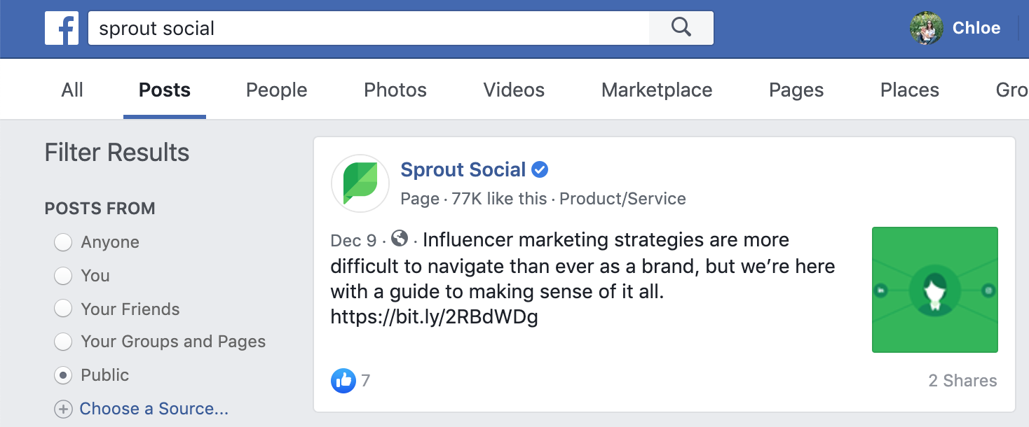 facebook search for branded social mentions