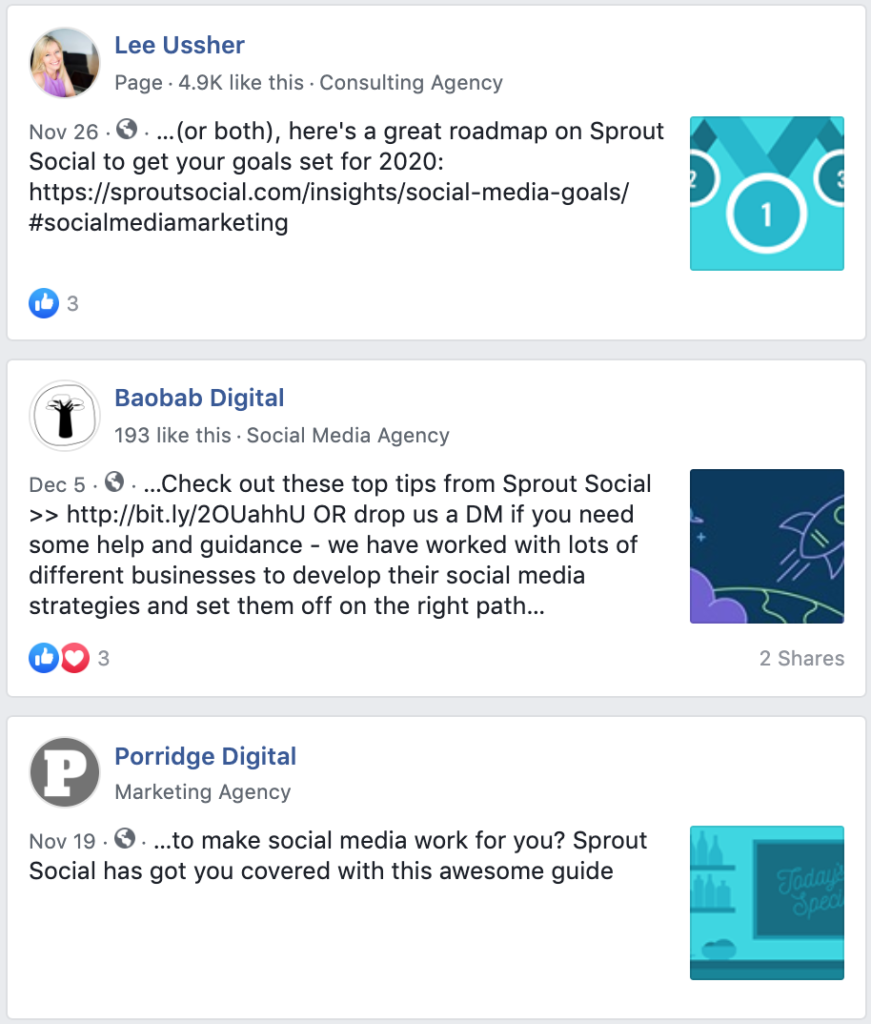 public posts with branded social mentions about sprout social on facebook