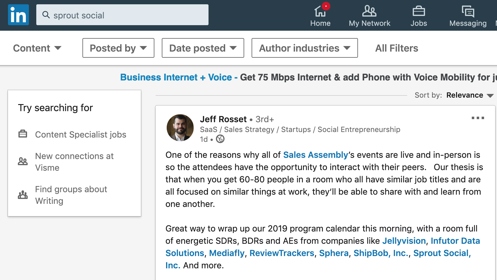 linkedin search for sprout social mentions