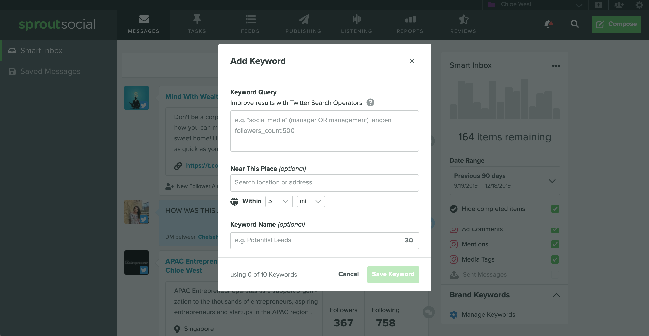 setting up social monitoring in Sprout Social with keywords