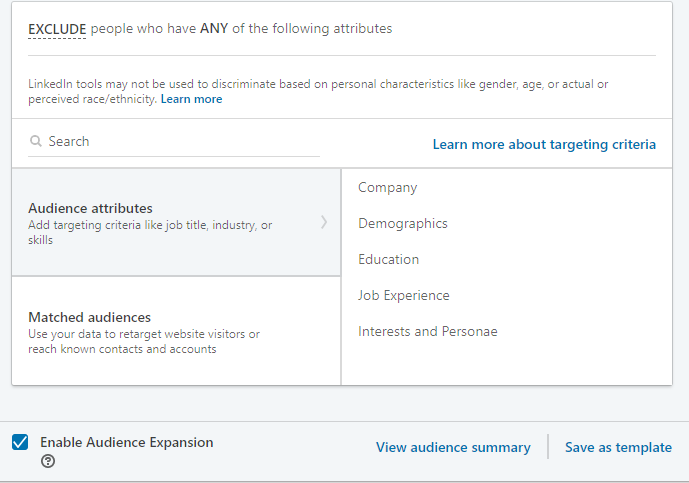 LinkedIn ad audience exclusion