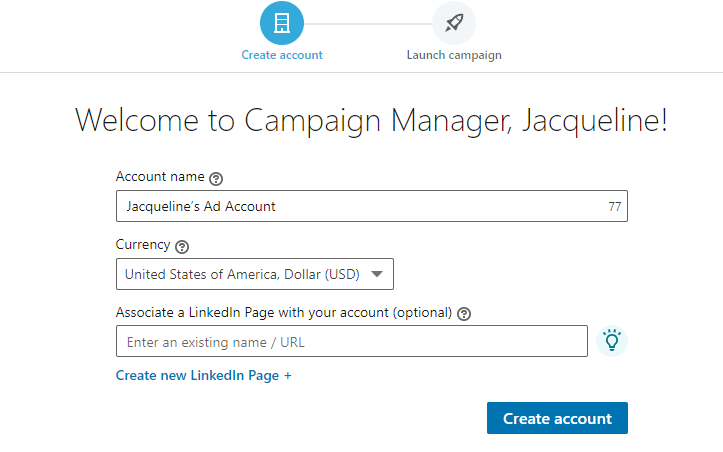 LinkedIn campaign manager account creation