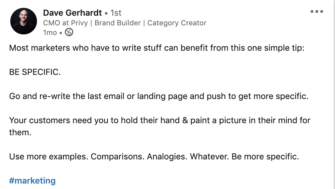 linkedin post with advice from Dave Gerhardt on marketing