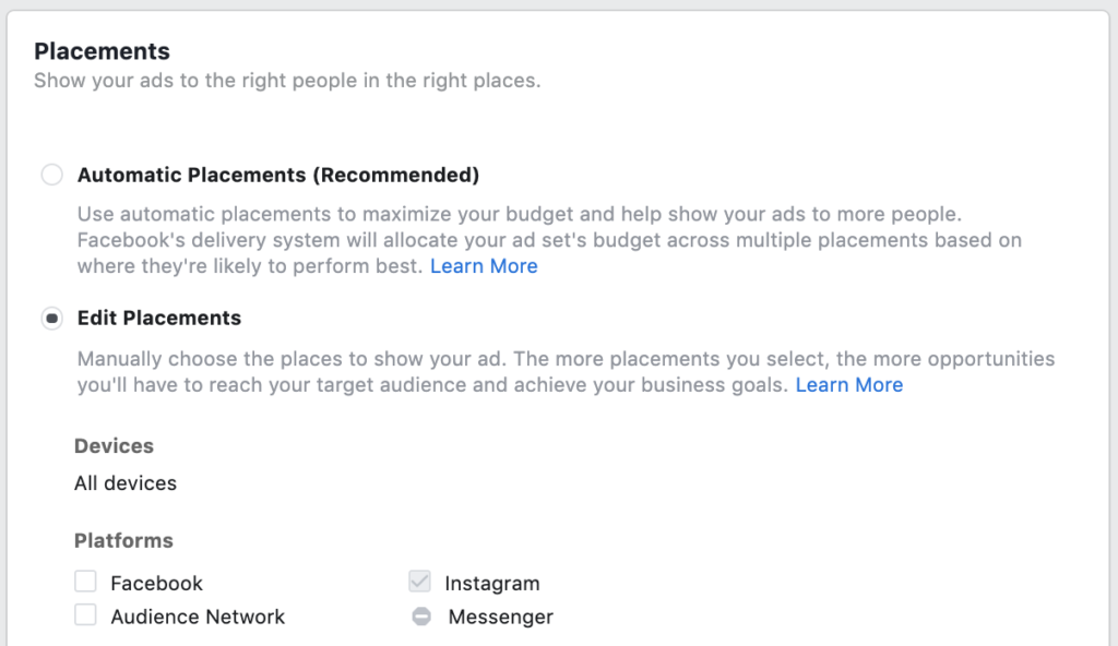 instagram advertising - choose your ad placements