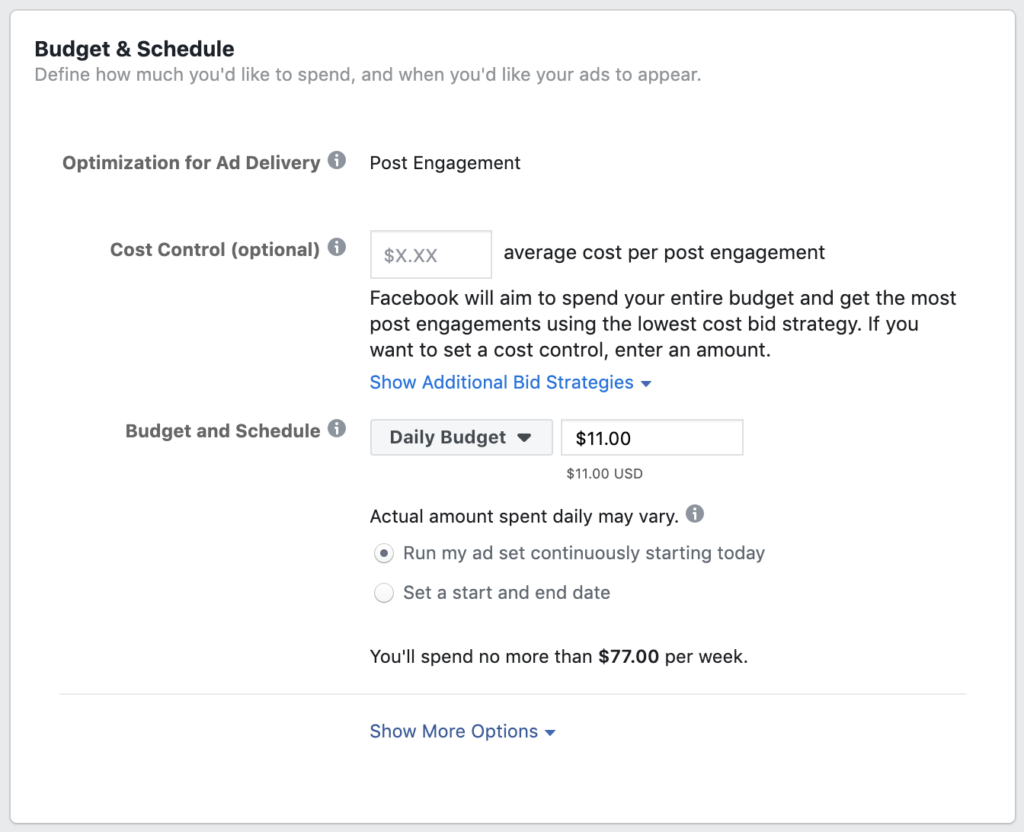 instagram advertising - define your ad budget and schedule