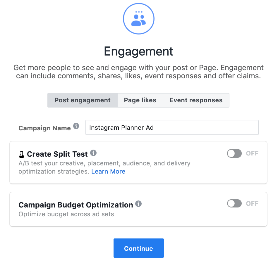 instagram advertising - name your ad campaign