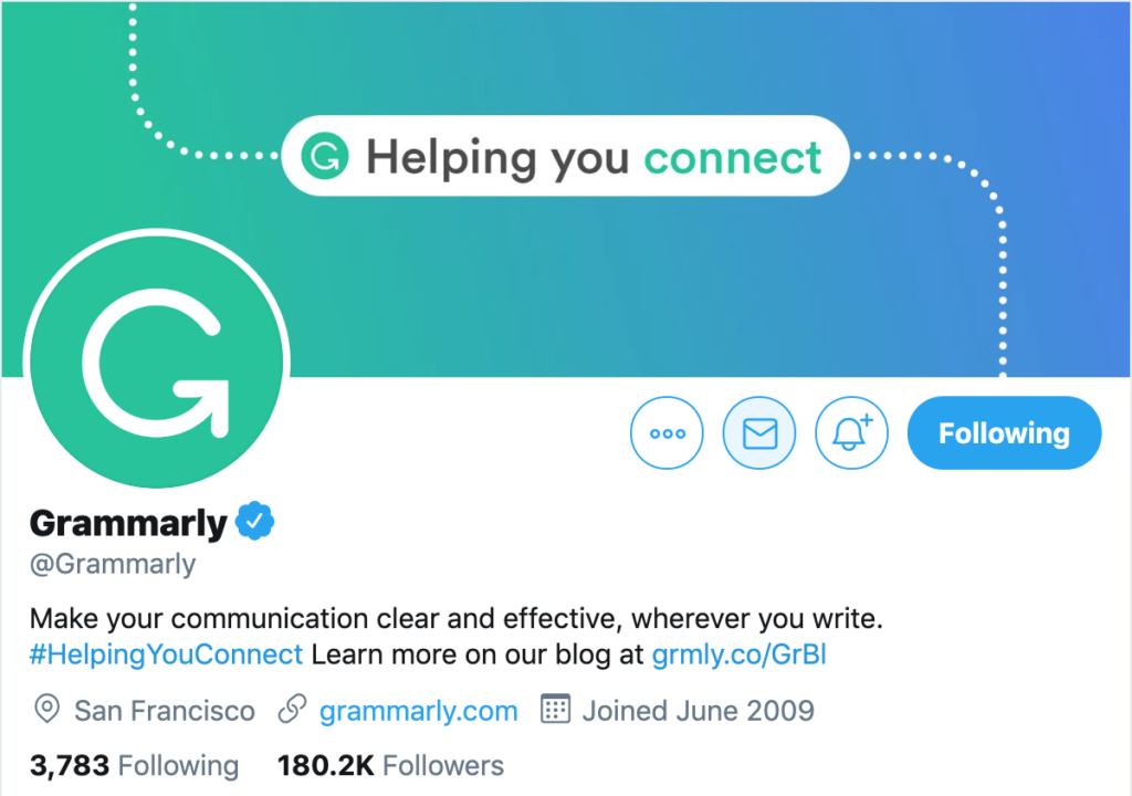 twitter traffic - add URLs to your profile like grammarly