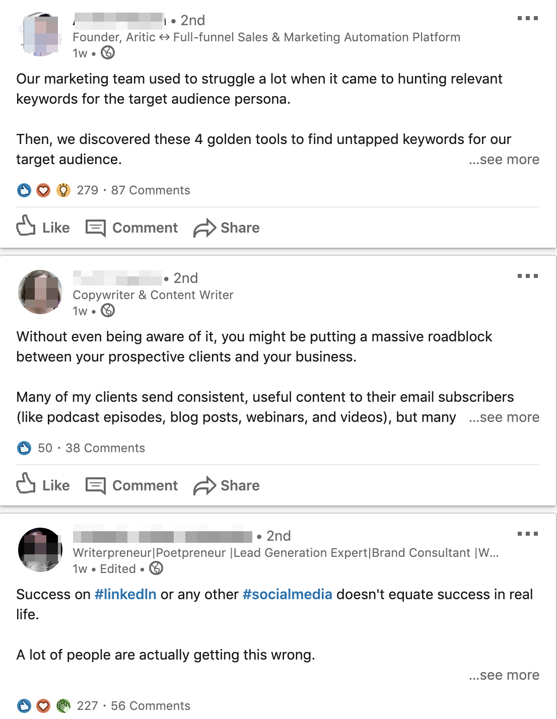 examples of linkedin keyword search results