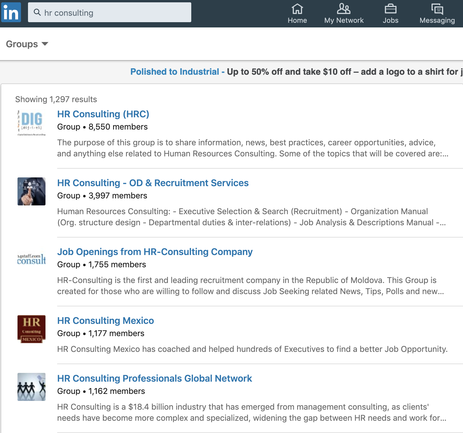 linkedin group search example results