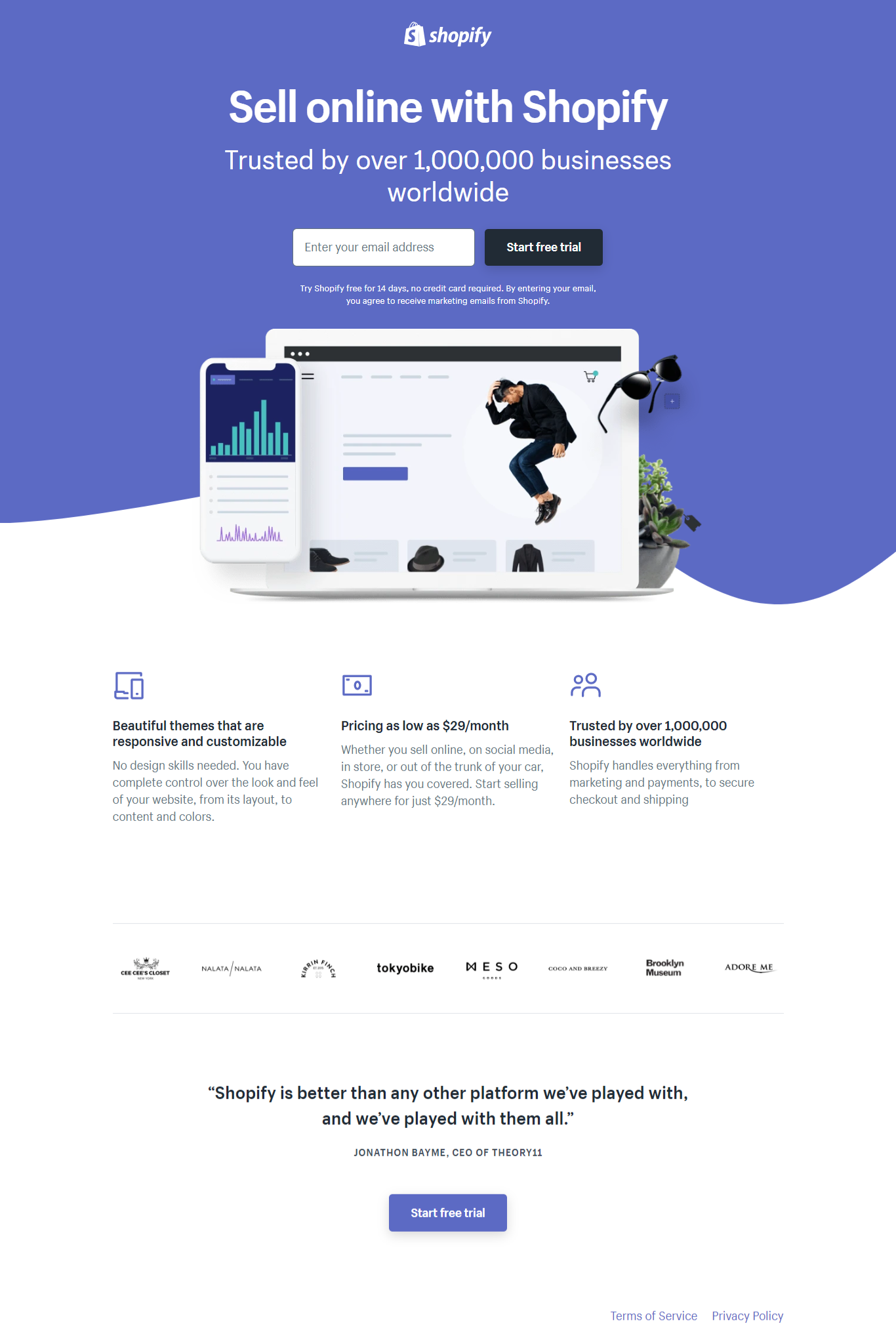 shopify free trial landing page example
