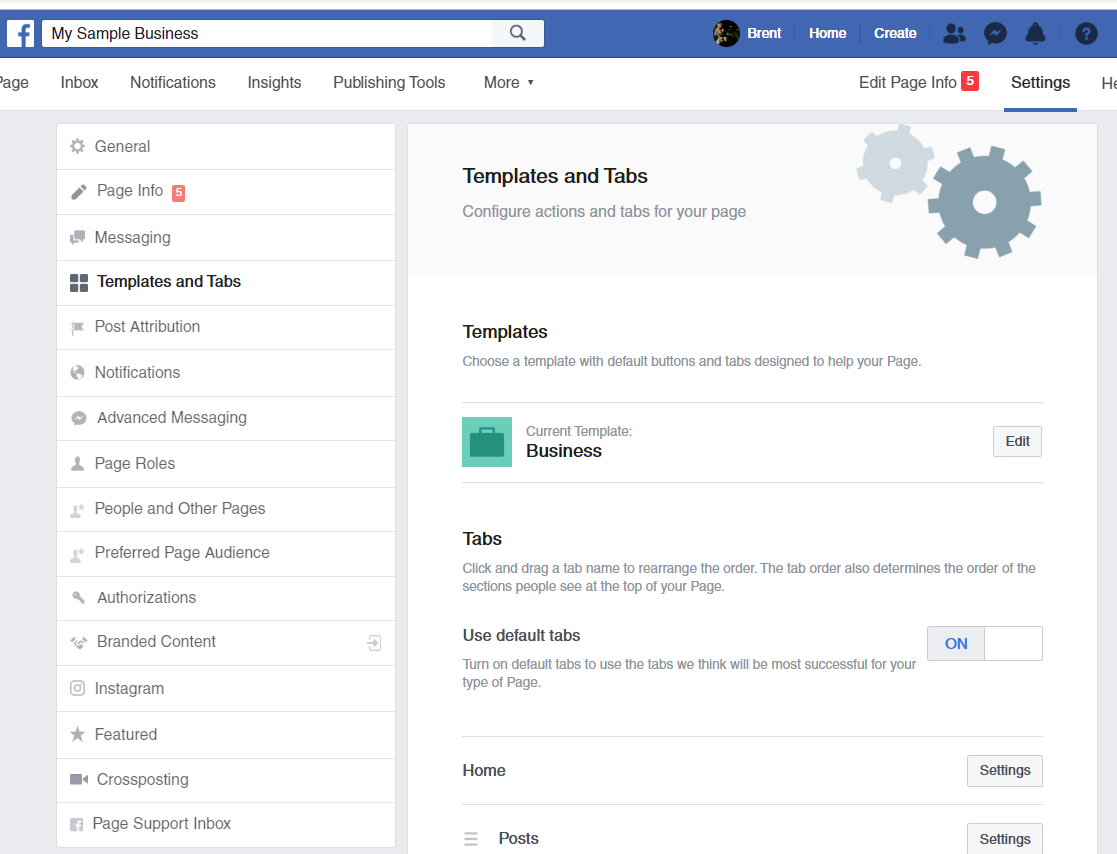 facebook business page templates and tabs
