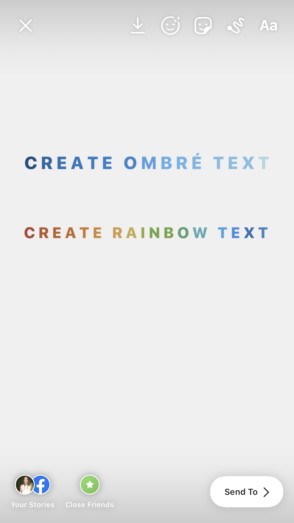 instagram hacks - create ombré or rainbow text